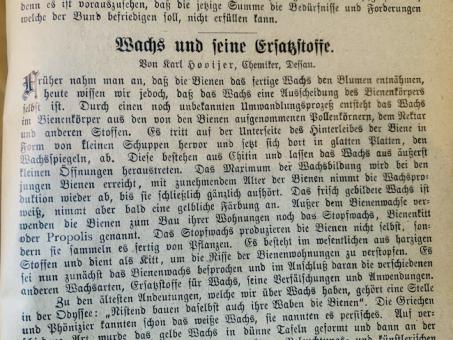 Transkript: Wachs und seine Ersatzstoffe, Artikel aus dem Jahre 1910 über Fälschungen